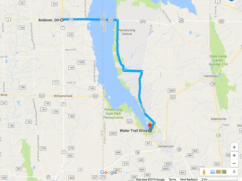 If you are coming from North East Ohio it will be easiest to cross the Lake via PA-285 then head south on South Lake Rd.